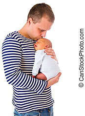 dad and his newborn baby - the dad and his newborn baby