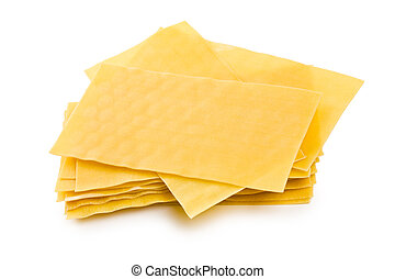 lasagne sheets on white background