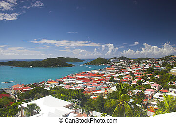 View of island town - View of tropical town at the island in...
