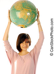 The world is a ball - A girl holding a globe in his hands...