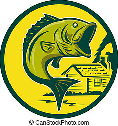 largemouth bass fish jumping - illustration of a largemouth...