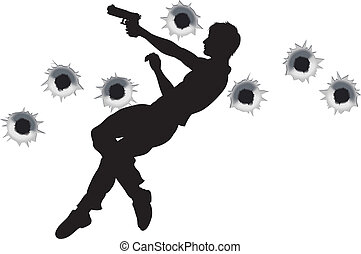 Action hero in gun fight silhouette - Action hero leaping...