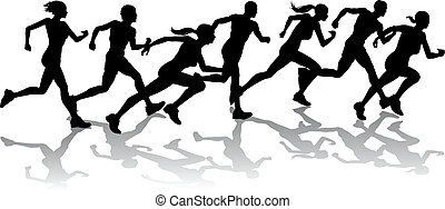 Runners racing - Silhouette of a group of runners racing...