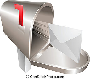 Mailbox illustration concept - A traditional metal mailbox...