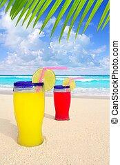 tropicais, turquesa,  leafl, árvore, Coquetéis, palma, praia