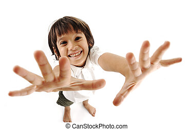 Positive cute kid trying to catch you