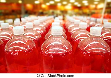 assembly line bottle red liquid rows lines perspective