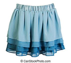 azul, cetim, mini, saia