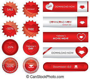 special red website download buttons - valentine's day...