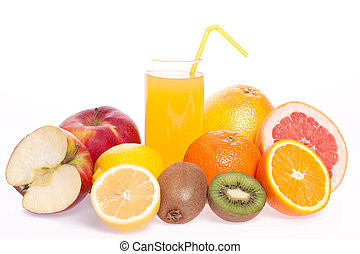 assorted fruit with a glass of juice on a white background