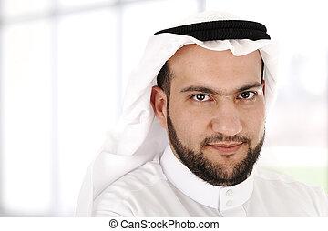 moderno, árabe, hombre de negocios