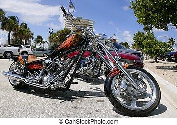 sommer,  Florida, Sonnig, Fahrräder, parken, sandstrand