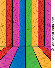Multicolored wooden background, abstract art illustration