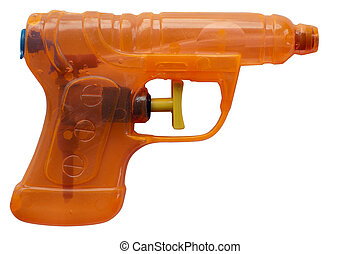 Water pistol - Orange transparent plastic water pistol...