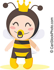 Bee Baby Girl - Cute sweet baby girl wearing queen bee...