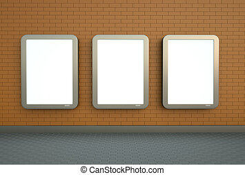 Three wall banners - Blank citylight banners hanging on an...
