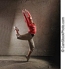 joven, hembra, bailando, modernbreak, baile