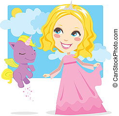 Sweet Princess - Cute blond princess smiling and playing...