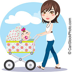 Mother Walking - Cute young woman pushing baby carriage...