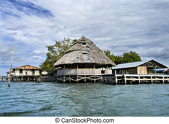 The house established on piles. Lake Sentani, Indonesia