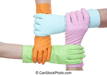 gloves - four colours of rubber gloves on white background