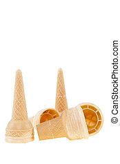 cornet - empty cornet to ice on white background