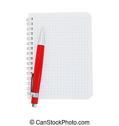 Paper notebook with red pen