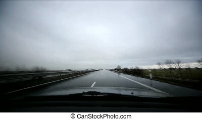 Driving With Bad Weather - Car Trip With Fog