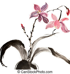 Chinese traditional painting of red and purple flower on...