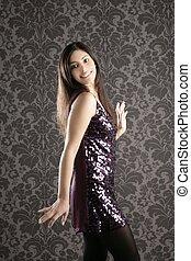 elegante, moda, mulher, Sequins, Vestido, Papel parede
