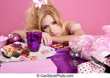 end party pink princess barbie fashion woman tired on messy...