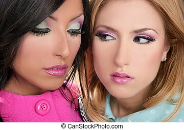 blonde and brunette women barbie pink style makeup closeup...