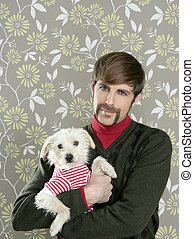 geek retro man holding dog silly on wallpaper - geek retro...