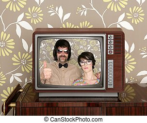 wood old tv nerd silly couple retro man woman - wood old tv...