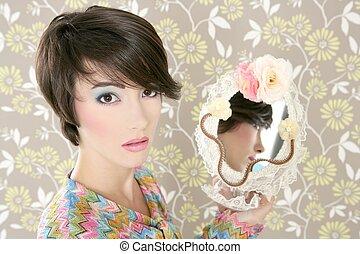 retro woman mirror fashion portrait tacky