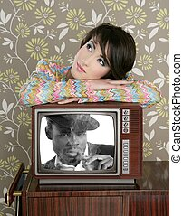 retro woman in love with tv african hero