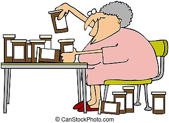 Woman And Her Meds - This illustration depicts an old woman...