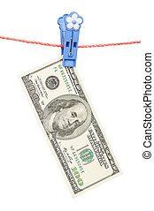 One hundred dollar on clothesline - One hundred dollar bill...
