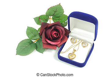 Love gift - Heart shape jewelry set and roses, on white...