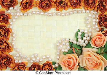 Roses frame - Frame from flowers on wooden background