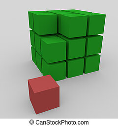 Disassembled cube on a white background