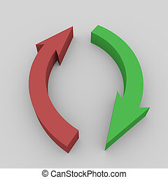 Red and green 3D arrows