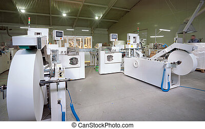Production chain - Machines for making handkerchiefs, rolls...