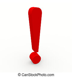 3d exclamation point - Red 3d exclamation point on white...