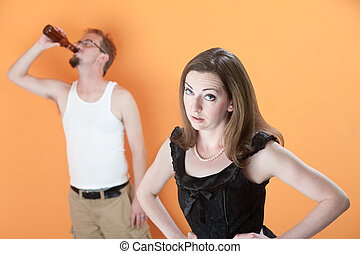 Unhappy Wife with Drunk Husband