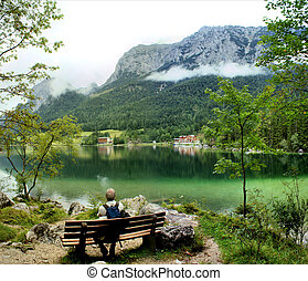 Breathing pause at a hike - The Hintersee is a mountain lake...