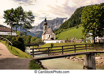 Church before the Reiteralpe - Village church in the...