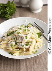 Creamy mushroom penne - Delicious pasta penne with creamy...