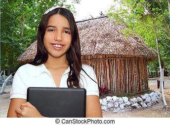 Adolescente, morena, tenencia, latín, computador portatil,...