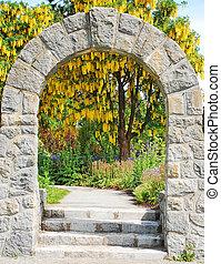 Stone archway in garden
